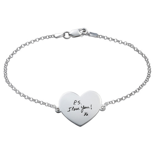 Lettering Handwritten Personalized Bracelet - Heart Shape
