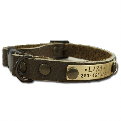 Personalised Leather Dog Collar Name and Number phone