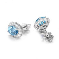Topaz 2.5 Carats Blue 925 Silver Stud Earrings