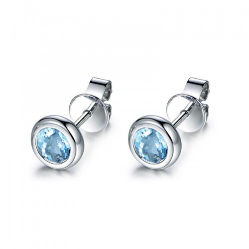 925 Silver Topaz Solitaire Stud Earrings Colored Gemstones Blue 1.6ct