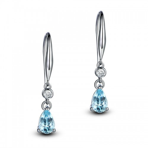 Sterling Silver Topaz Drop Earrings 2.5 ct