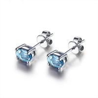 Sterling Topaz Stud Earrings 2.5ct