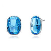 Simple S925 Silver Stud Earrings Women Crystal Earrings