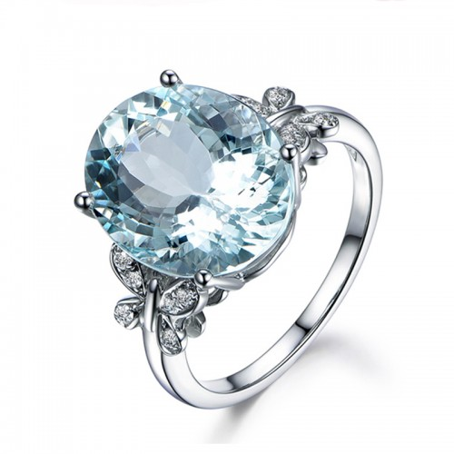 925 Silver With Natural Topaz Ring Butterfly 5.5ct