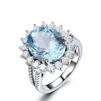 925 Silver Luxury Topaz Engagement Ring 5cts