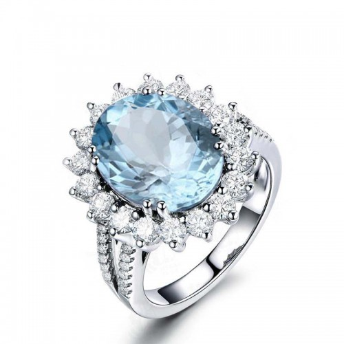 925 Silver Oval Topaz Women's Ring Wedding Engagement Ring 5ct