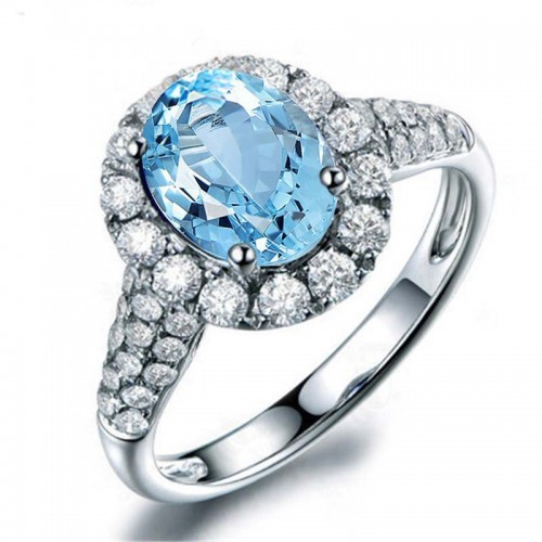 925 Silver Oval Topaz Promise Ring Engagement Ring 2ct