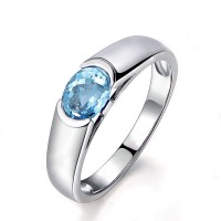 Topaz Ring Sky Blue 925 Silver 1.25 Carat Women's Ring Jewelry