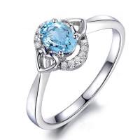 Sky Blue Topaz 925 Silver 1.25ct Oval Women's Ring