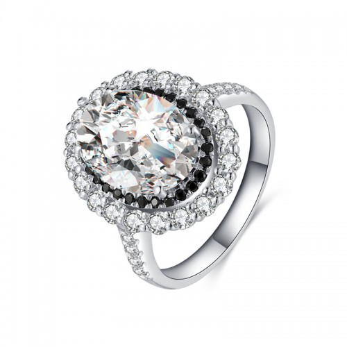 Sterling Silver Oval CZ Engagement Ring 4.5ct