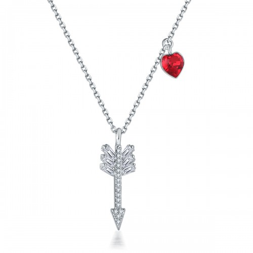 Bow And Arrow Love Crystal Necklace Clavicle Chain