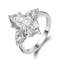 Sterling Silver Marquise  Cut CZ 3-Stone Ring 4.5ct