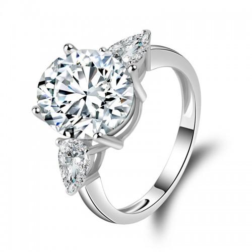 Sterling Silver Round 3-Stone CZ Ring 5ct